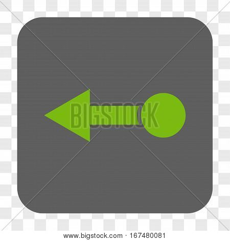 Pull Left interface toolbar button. Vector icon style is a flat symbol on a rounded square button light green and gray colors chess transparent background.