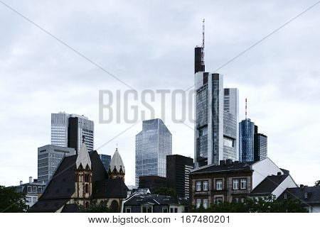 Frankfurt am Main, Germany, Europe. The skyline of the financial district from a lower perspective, showing the glass facade skyscrapers of the banks and financial corporations.