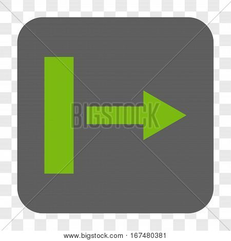 Pull Right interface toolbar button. Vector icon style is a flat symbol in a rounded square button light green and gray colors chess transparent background.