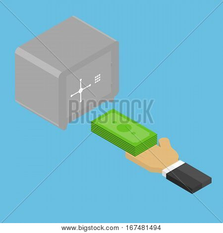 Businessman invests money in the safe. Vector illustration .