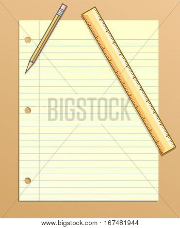Border or background of paper, pencil and ruler, for stationery