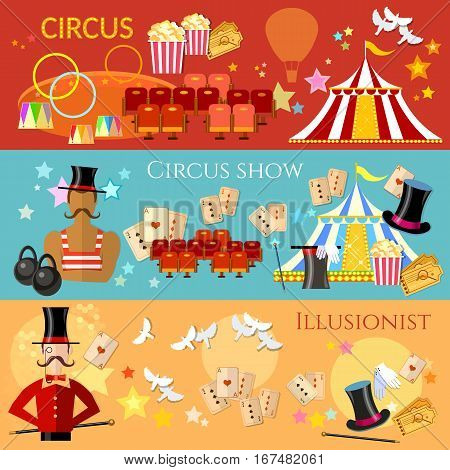 Circus banner performance strongman magician magic tricks circus show concept