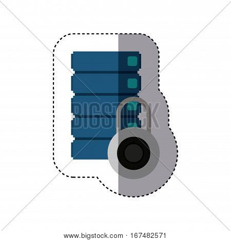 sticker with blue filing cabinet and padlock vector illustration