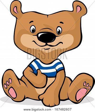 cute brown bear illustration sitting - vector