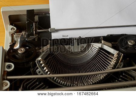 Dear typed words on a Vintage Typewriter