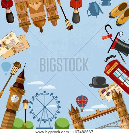 London United Kingdom template design. England travel background. Welcome to the UK
