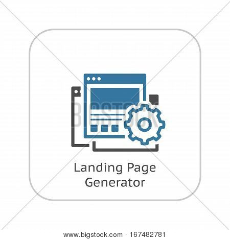 Landing Page Generator Icon. Business and Finance. Isolated Illustration. Gear with three web pages.
