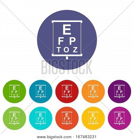 White placard with letters eyesight testing set icons in different colors isolated on white background