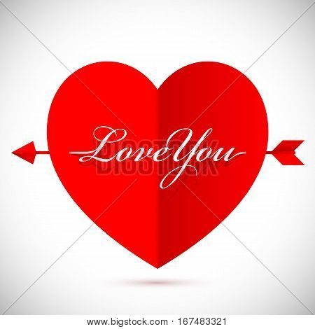 Big red heart with arrow and Love You message