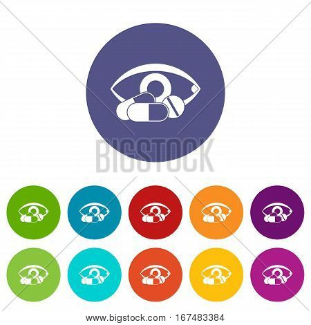 Treatment of the eye set icons in different colors isolated on white background