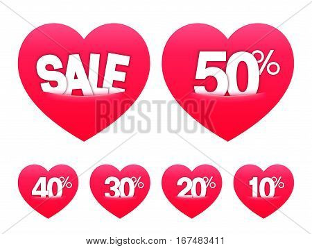 Valentines day sale stickers or labels isolated on white background