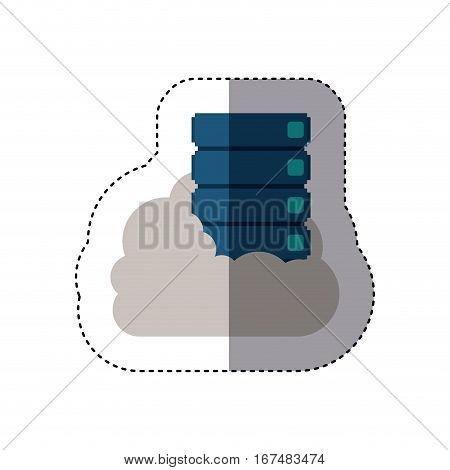 sticker with file cabinet into the cloud vector illustration
