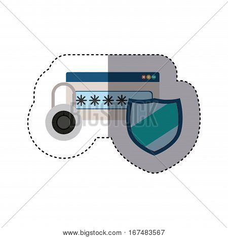 sticker set of padlock and password text box with shield vector illustration