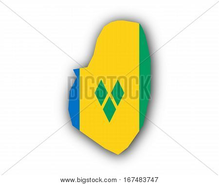 Map And Flag Of Saint Vincent And The Grenadines