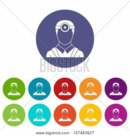 Ophthalmologist with head mirror set icons in different colors isolated on white background