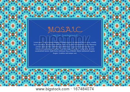 Mosaic frame abstract geometric background in moroccan style