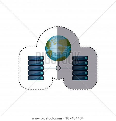 sticker earth map world connect to file cabinets vector illustration
