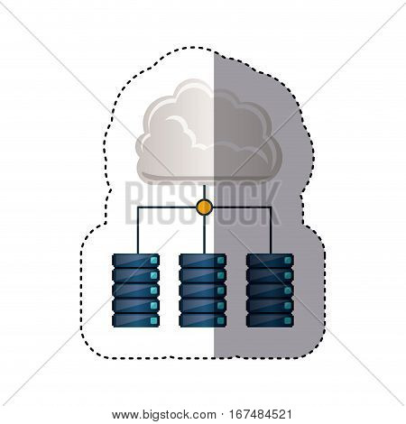 sticker cloud connect to file cabinets vector illustration
