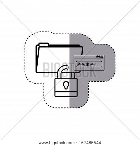 sticker silhouette folder wit paclock closed and password text window . Vector illustration