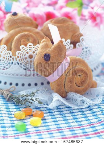 Easter bunny shaped sweet bread. Homemade bread rolls. Easter treat. Selective focus.