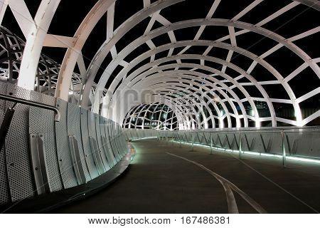 Walkway inside of web bridge, Melbourne, Australia.