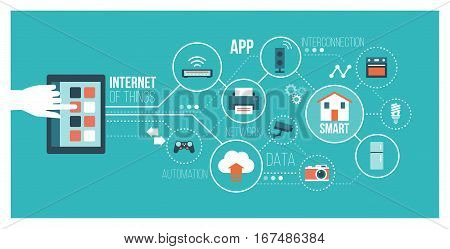Internet of things and home automation concept: user connecting with a smartphone and interconnecting with everyday objects on a network