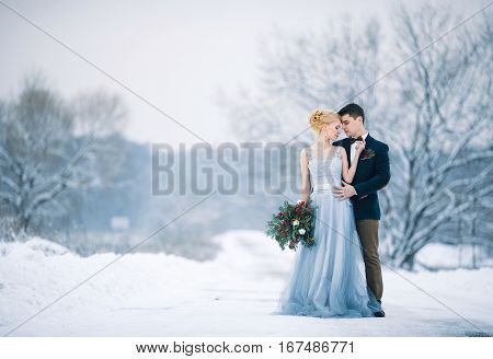 Bride and groom among snowy landscape. Bride and groom are standing and hugging. Winter wedding outdoors. Copy space.