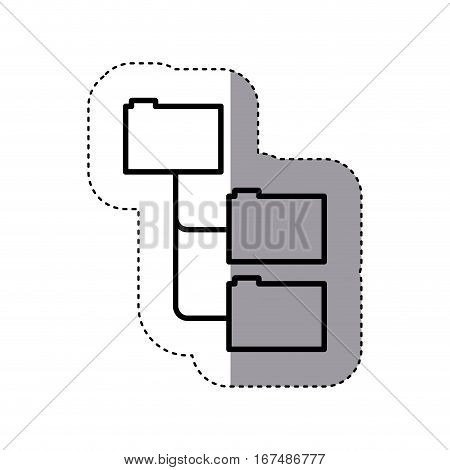 sticker silhouette folders organized in line vector illustration
