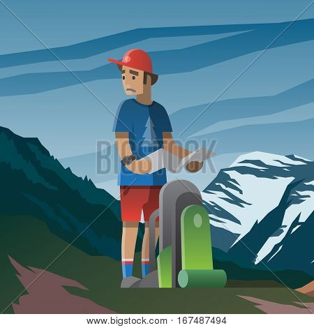 Vector illustration on the theme of hiking, backpacking, climbing, traveling, trekking, walking. Man with map and backpack lost in the mountains. Summer adventure in the mountains, outdoor recreation.