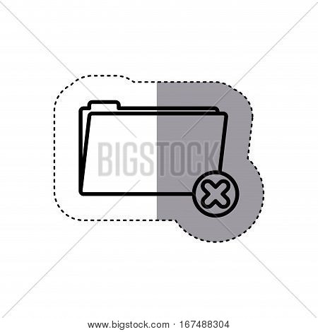 sticker silhouette folder symbol to erased files vector illustration