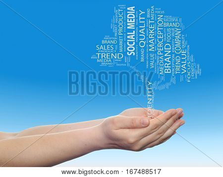 Concept or conceptual tree media word cloud tagcloud in man or woman hand on blue sky background