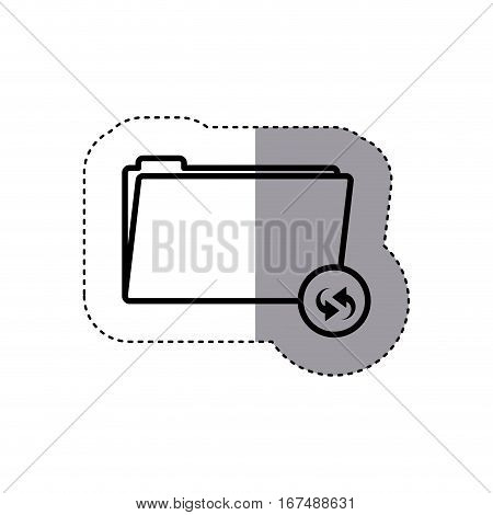 sticker silhouette folder symbol to update files vector illustration