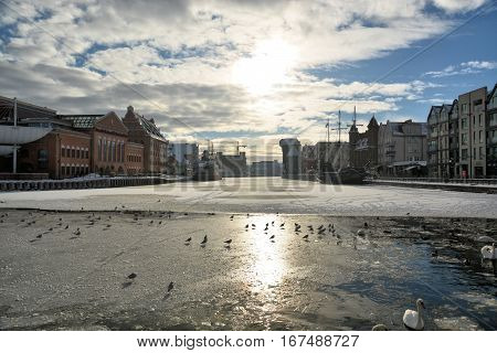 Gdańsk,  Motława, Stare miasto, Poland, architektura, żuraw