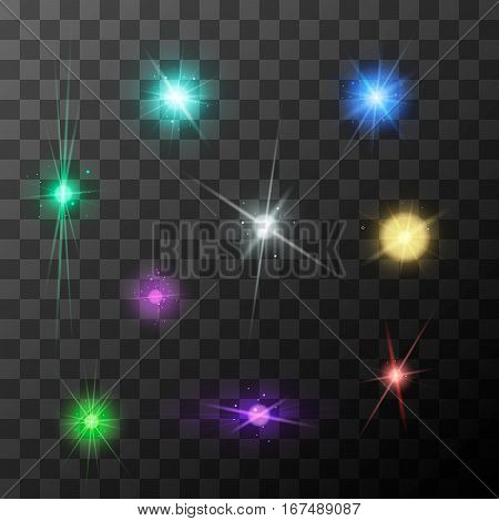 Set of different starbursts with colourful sparkles on transparent background