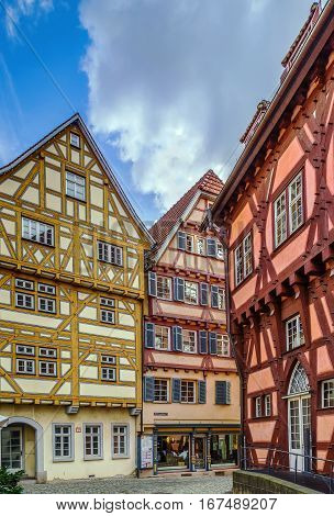Street with half-timbered houses in Esslingen am Neckar historical center Germany