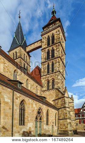 Parish Church of St. Dionysius Esslingen am Neckar Germany. The basilica with its three naves and high choir was built between 1220 an about 1315.
