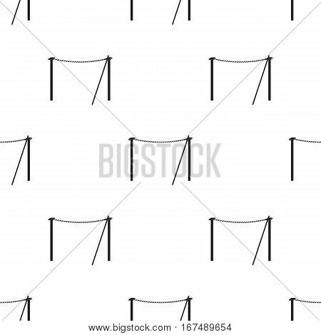 Tightrope icon in black style isolated on white background. Circus pattern vector illustration.