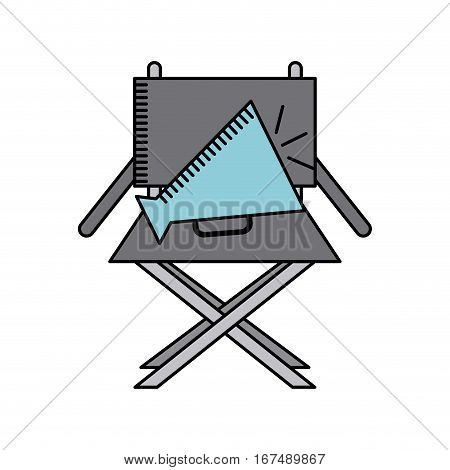director chair and speaker icon over white background. cinema and movie concept. colorful design. vector illustration