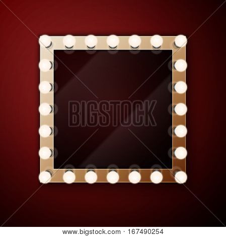 Realistic retro vintage make up mirror with light bulbs vector illustration. Beauty backstage design concept.