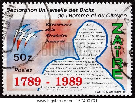 ZAIRE - CIRCA 1979: a stamp printed in the Zaire shows Declaration of the Rights of Man and Citizen Bicentenary of the French Revolution circa 1979