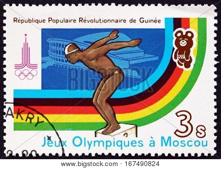 GUINEA - CIRCA 1982: a stamp printed in Guinea shows Diving 22nd Summer Olympic Games Moscow circa 1982