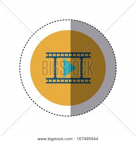 colorful sticker circular border with filmstrip with play button vector illustration