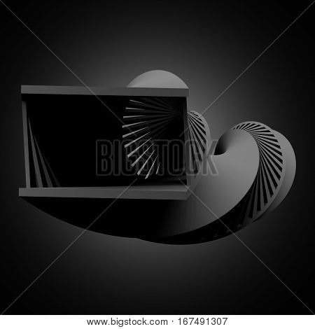 Abstract Black Helix Object, 3 D Render