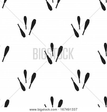 Juggling clubs icon in black style isolated on white background. Circus pattern vector illustration.