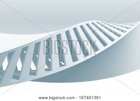 Abstract White Spiral, 3D Render