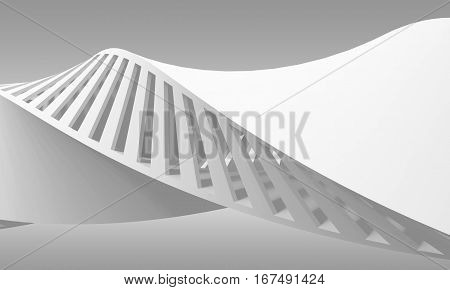 Abstract White Curved Spiral Structure