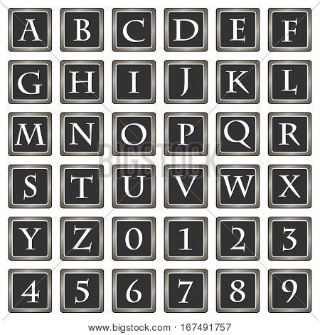 Collection of 36 isolated vector icons on white background - alphabet (letters) and numerals