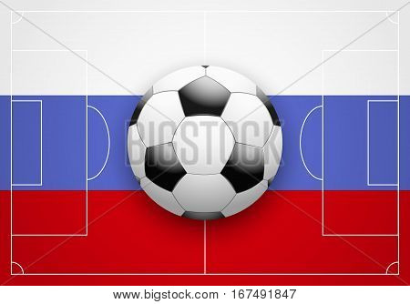 Flag of Russia and ball on football field. Vector Illustration isolated on white background.