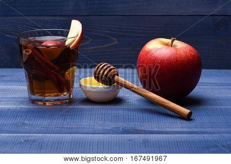 Glass With Juice, Pieces Of Apple, Cinnamon, Honey, Honey Stick