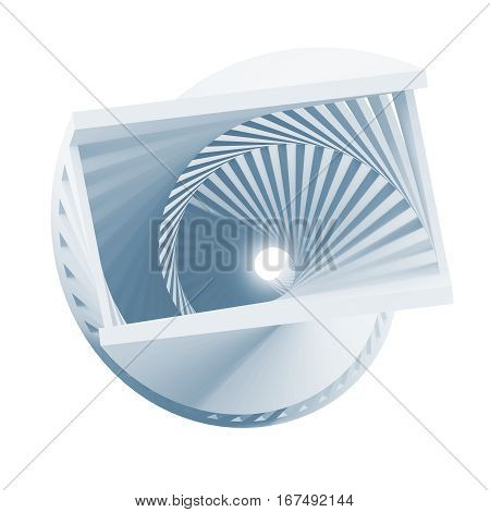 Abstract Blue Helix Object Isolated